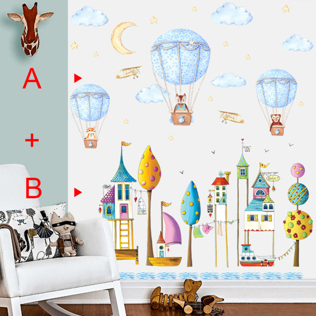 Cartoon Animal Hot Air Balloon Wall Sticker For Kids Room Children Baby Bedroom