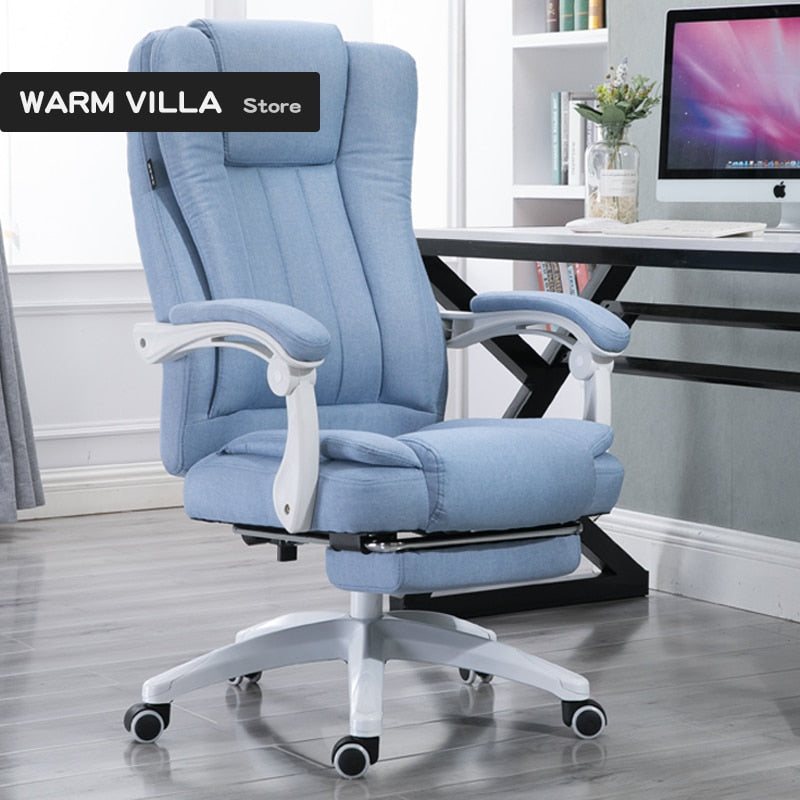 European Fabric Art Home Computer Can Lie Staff Member Meeting Cowhide Boss Genuine Leather Massage Chair