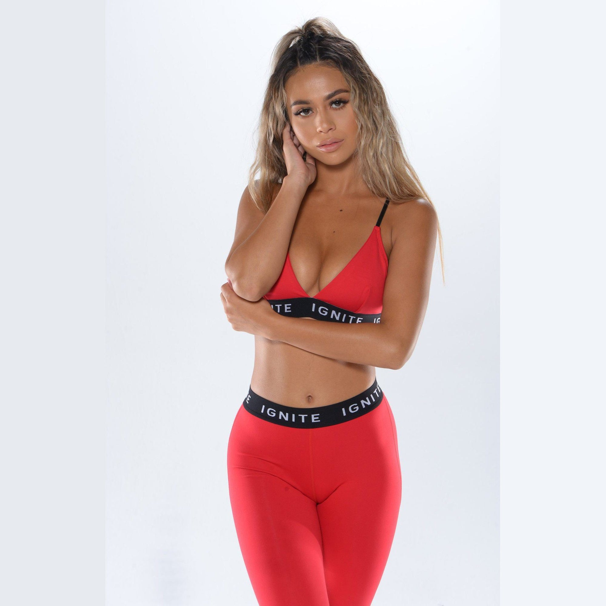 Strappy Banded Sports Bra - Red