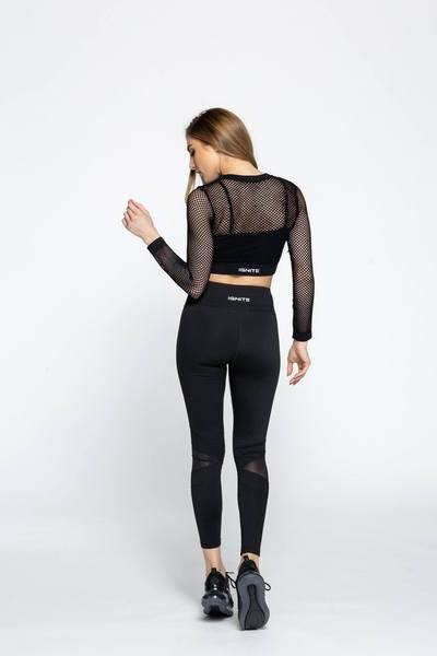 Sheer Netted Crop Top - Black