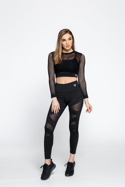 Mid-Rise Mesh Training Leggings - Black