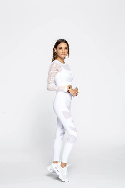 Mid-Rise Mesh Training Leggings - White