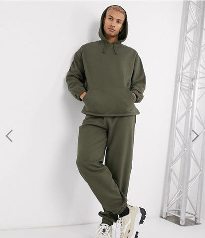ASOS DESIGN Oversized Track Suit With Hoodies and Khaki Joggers