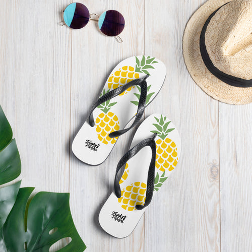 Pineapples fruit print design flip flops