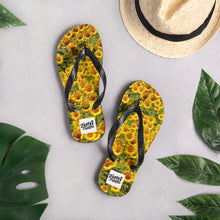 Load image into Gallery viewer, Flip flops sunflower