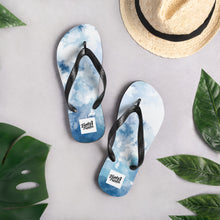 Load image into Gallery viewer, Blue water colour flip flops