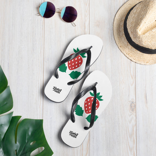 Strawberry print design flip flops