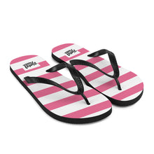 Load image into Gallery viewer, Stripey pink flip flops