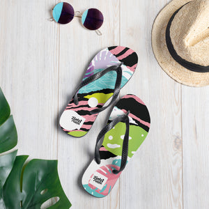 Pink pop art design flip flops