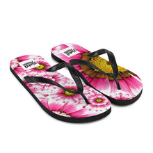 Load image into Gallery viewer, Summer pink flower flip flops