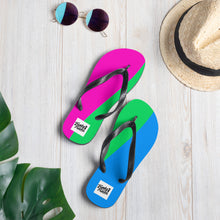 Load image into Gallery viewer, Polysexual pride flip flops