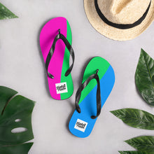 Load image into Gallery viewer, Polysexual pride-flag flip flops