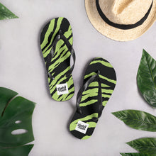 Load image into Gallery viewer, Green tiger print flip flops