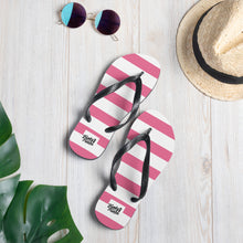 Load image into Gallery viewer, Pink stripe flip flops
