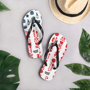USA flag design flip flops