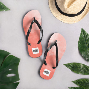 Red water colour flip flops