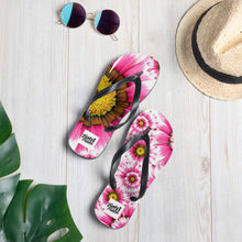 Load image into Gallery viewer, Pink flower flip flops