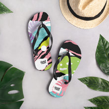 Load image into Gallery viewer, Pink pop-art design flip flops