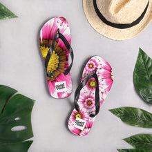 Load image into Gallery viewer, Pink summer flower flip flops