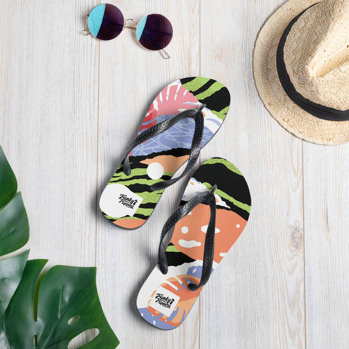 Green pop art design flip flops