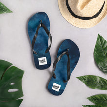 Load image into Gallery viewer, Dark blue water colour flip flops