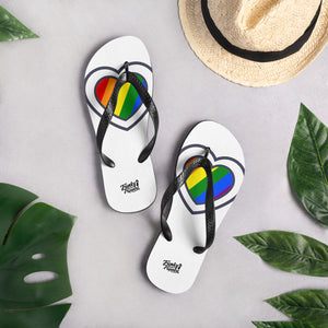 Pride design mini heart flip flops