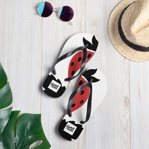 Large strawberry design flip flops