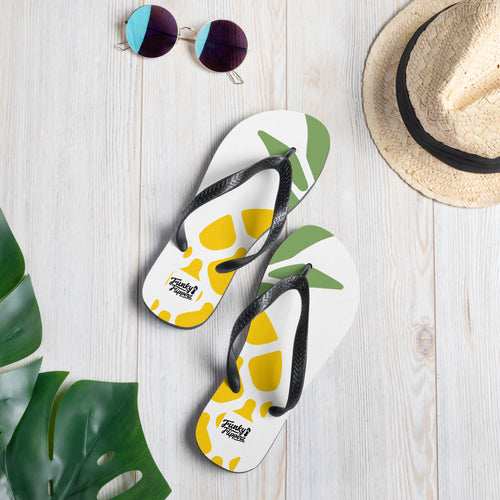 Pineapple print design flip flops