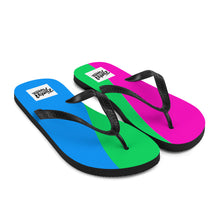 Load image into Gallery viewer, Polysexual pride flag flip flops