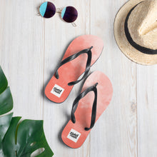 Load image into Gallery viewer, Red water colour design flip flops