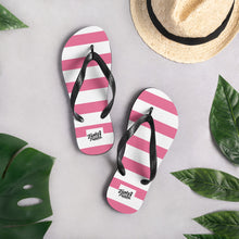 Load image into Gallery viewer, Pink stripey flip flops