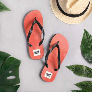 Dark red water colour flip flops