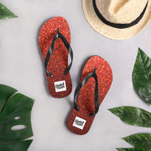 Load image into Gallery viewer, Red sparkly flip flops