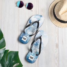 Load image into Gallery viewer, Blue water colour design flip flops