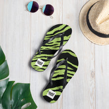 Load image into Gallery viewer, Green tiger print design flip flops