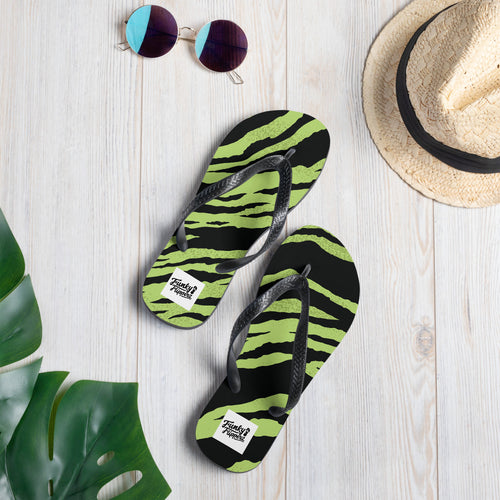 Green tiger print design flip flops
