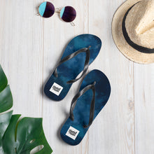 Load image into Gallery viewer, Dark blue water colour design flip flops