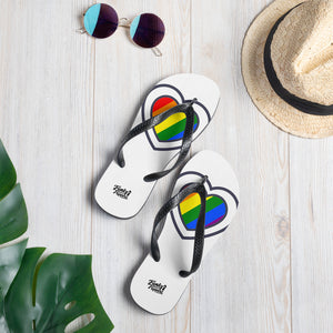 Pride mini heart design flip flops