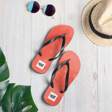 Load image into Gallery viewer, Dark red water colour design flip flops