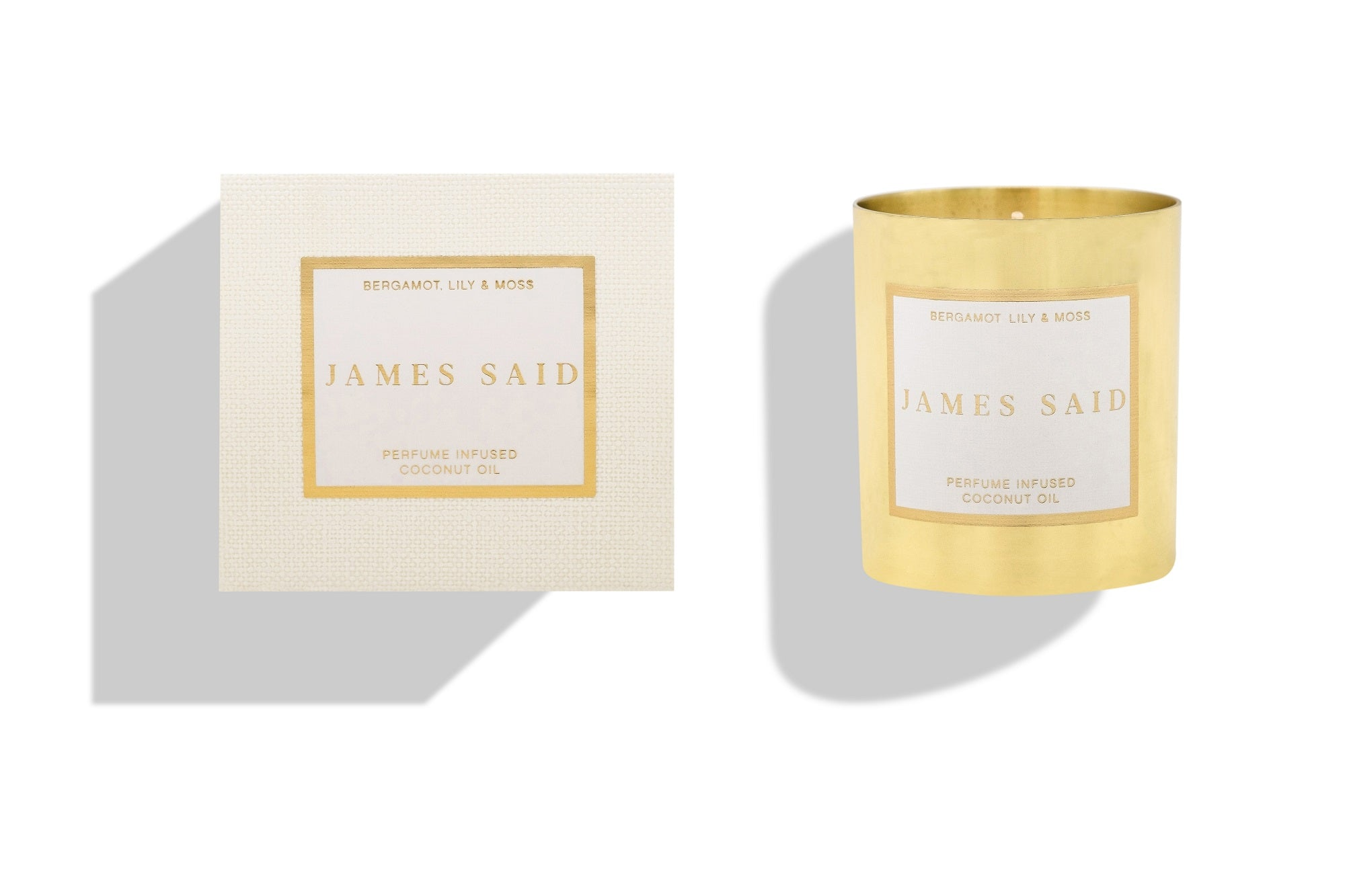 James Said Bergamot, Lily & Moss Brass Candles - 225g