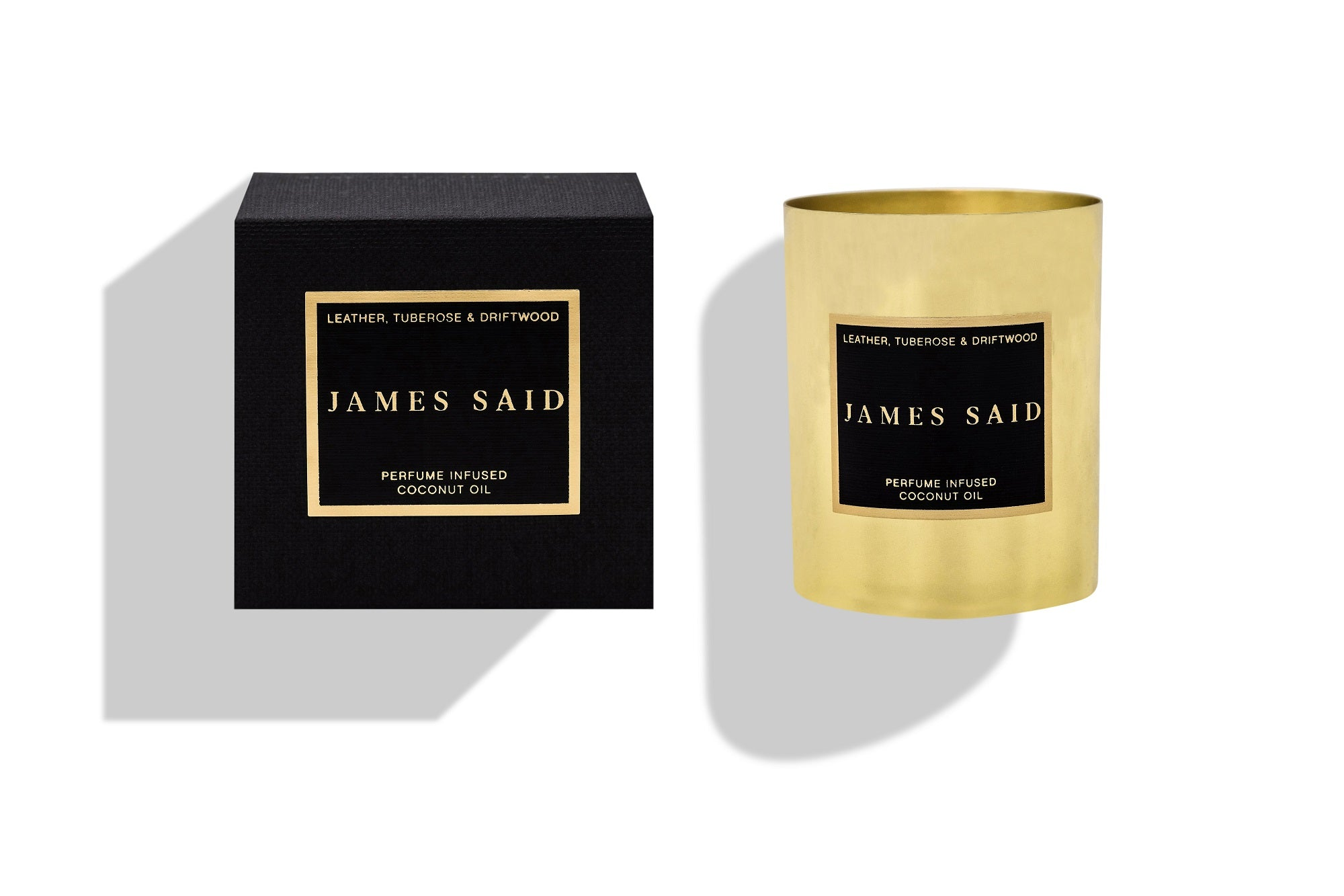 James Said Leather, Tuberose & Driftwood Brass Candle - 225g