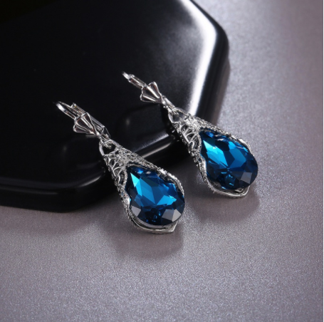 Vintage 925 Silver Sterling Blue Sapphire Antique Earrings