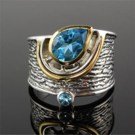 Vintage 925 Silver Sterling Blue Sapphire Ring