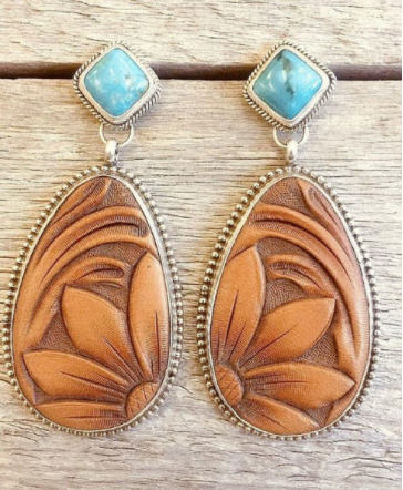 Antique Brown Engraving Sun Flower Turquoise Gemstone Earrings