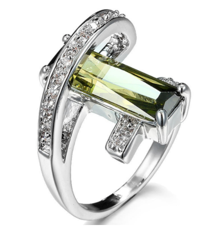 Collection: Emerald 925 Silver Sterling Geometric Design Ring