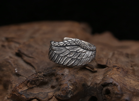 Adjustable Vintage Silver Sterling águila Ring