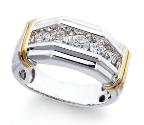 925 Silver Sterling Sapphire Diamond with 18k Gold Plated Design Ring