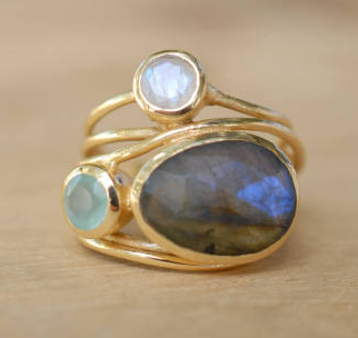 Vintage Bluish Grey, Green & White Moonstone Ring