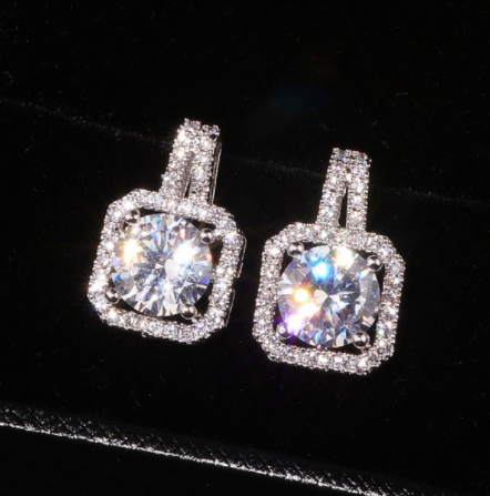 925 Silver Sterling Elegant Bling Diamond Stud Fine Jewelry Earrings