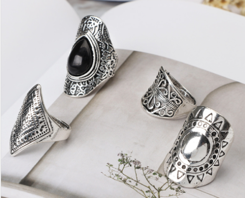 Vintage Sterling Silver 4 pcs Ring